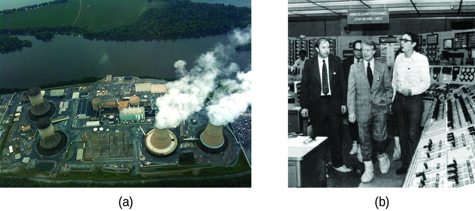 """Two photos, labeled """"a"""" and """"b"""" are shown. Photo a is an aerial view of a nuclear power plant. Photo b shows a small group of men walking through a room filled with electronics."""