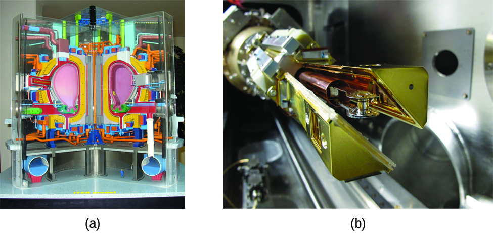 """Two photos are shown and labeled """"a"""" and """"b."""" Photo a shows a model of the ITER reactor made up of colorful components. Photo b shows a close-up view of the end of a long, mechanical arm made up of many metal components."""