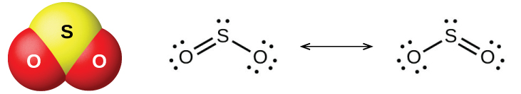 "A ball-and-stick model shows a yellow atom labeled, ""S,"" bonded on either side to a red atom labeled, ""O."" A pair of Lewis structures are shown connected by a double-headed arrow. The left Lewis structure shows a sulfur atom with one lone pair of electrons double bonded on the left to an oxygen atom with two lone pairs of electrons and single bonded on the right to an oxygen atom with three lone pairs of electrons. The right Lewis structure is a mirror image of the structure on the left."