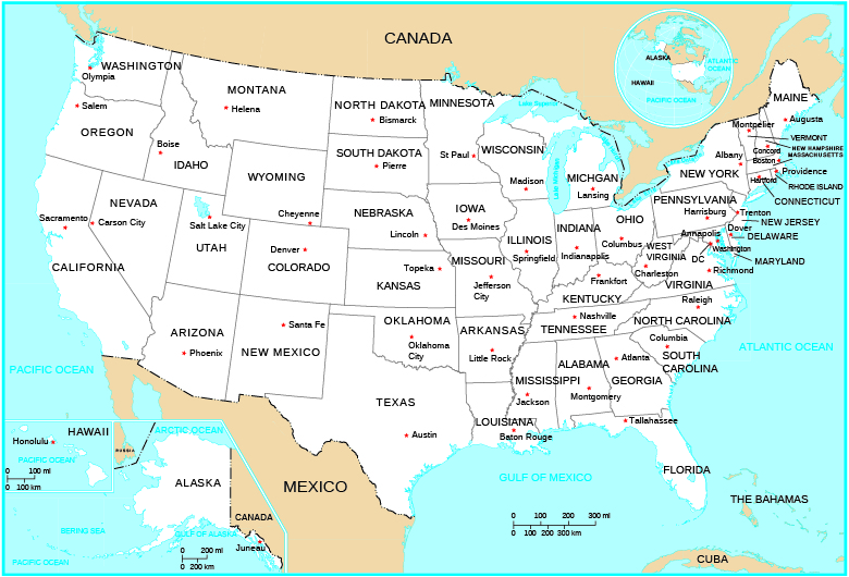a map shows the 48 contiguous states of the u s with alaska and hawaii shown