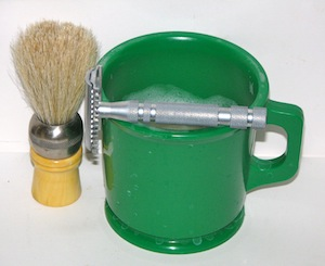 Marvy Rubber Shaving Mug and Horsehair Brush