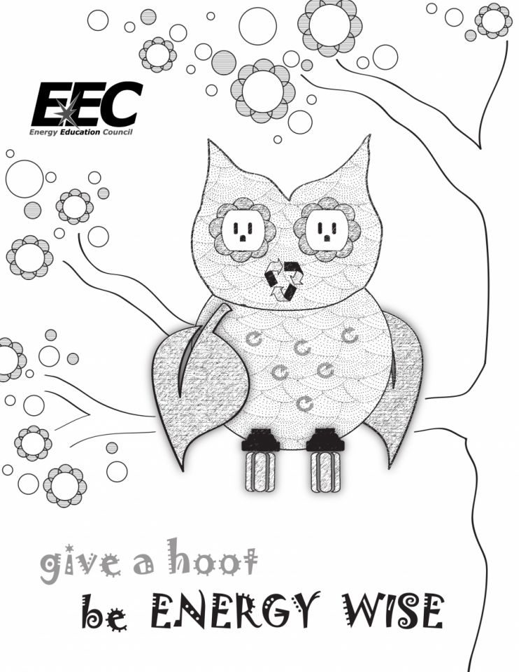 Give a Hoot Be Energy Wise! Coloring Pag