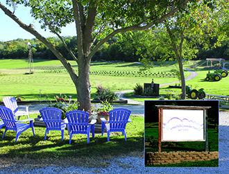 Image showcases a shaded seating area at Loess Hills Lavendar Farm.