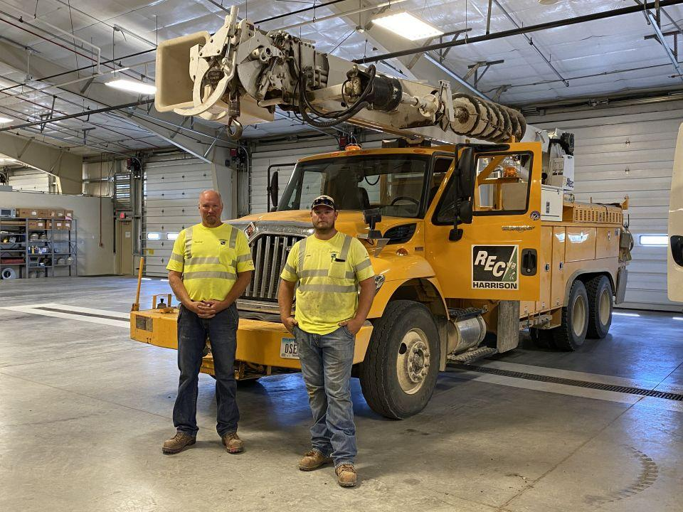 Jeremy Jochims and Jacolby Ehlert ready to leave and help Alliant Energy  in Perry.
