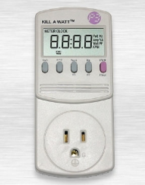 Photo image features Kill A Watt EZ Meter for gauging usage
