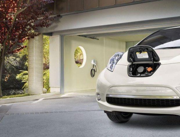 Nissan Leaf charging unit installed in a home garage