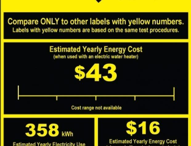 Yellow EnergyGuide