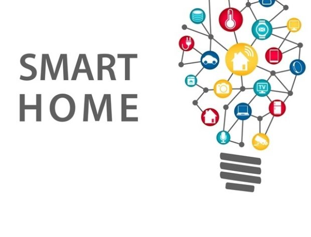 Smart Home lightbulb with grphically represented links to various types of technology