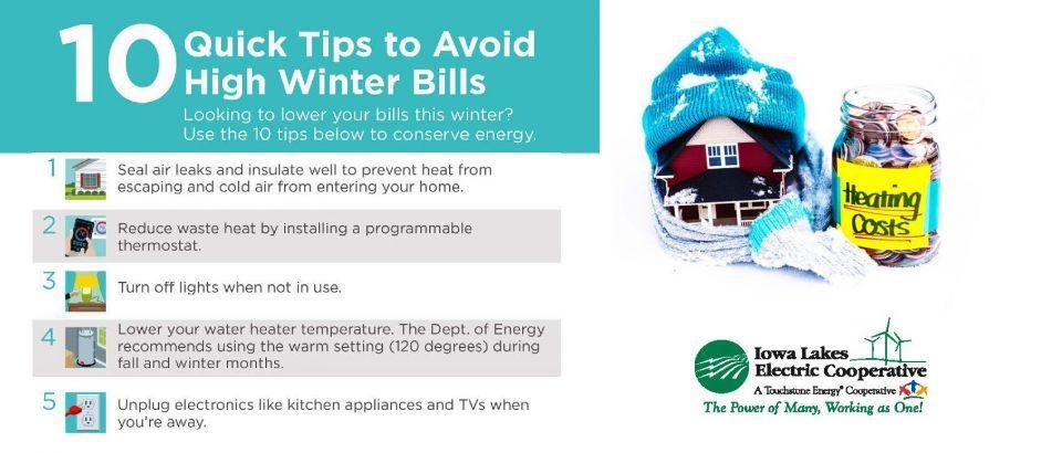 Ten quick tips to avoid high winter bills.
