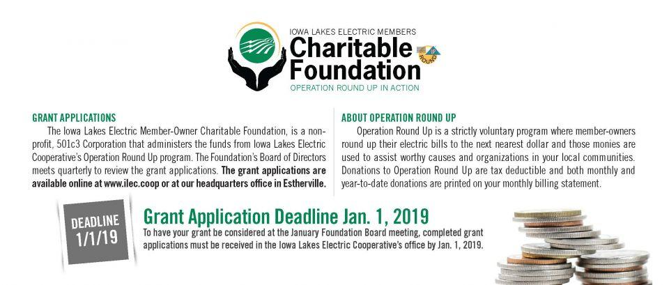 Operation Round Up grant application deadline Jan. 1, 2019