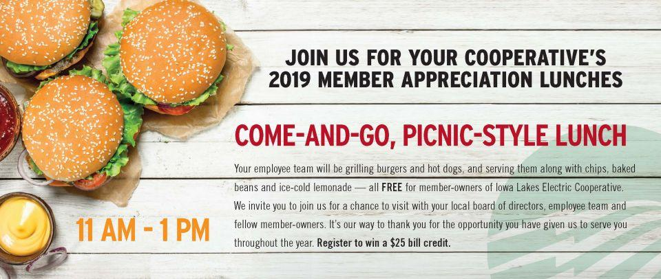 Join us for Member Appreciation lunches in August.