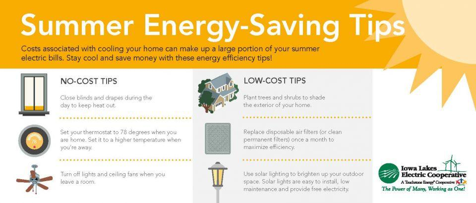 Summer energy-saving tips that are no-cost or low-cost.