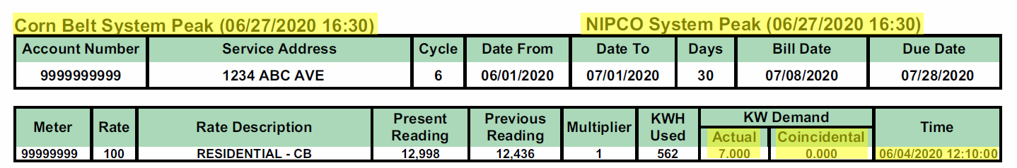 Sample bill with the wholesaler's peaks highlighted and the residential members peak demand time highlighted.