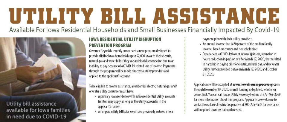 Utility bill assistance available for Iowa residential households and small businesses financially impacted by Covid-19