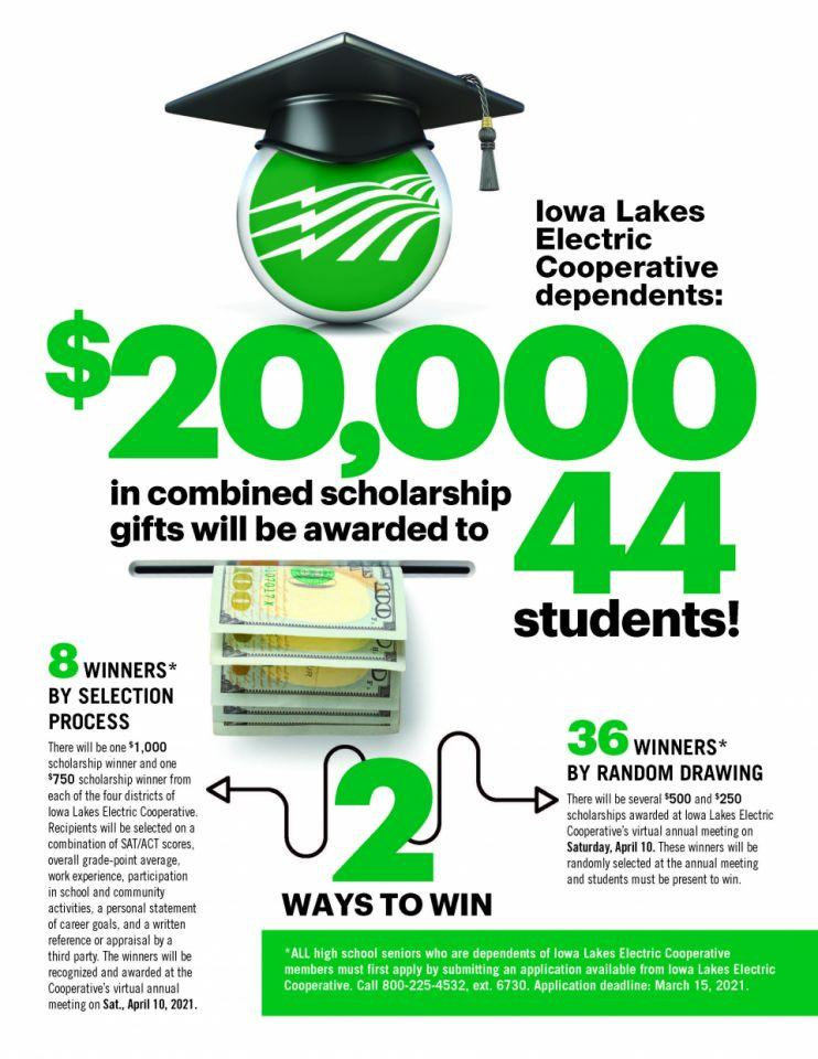 $20,000 in combined scholarship gifts will be awarded to 44 students.