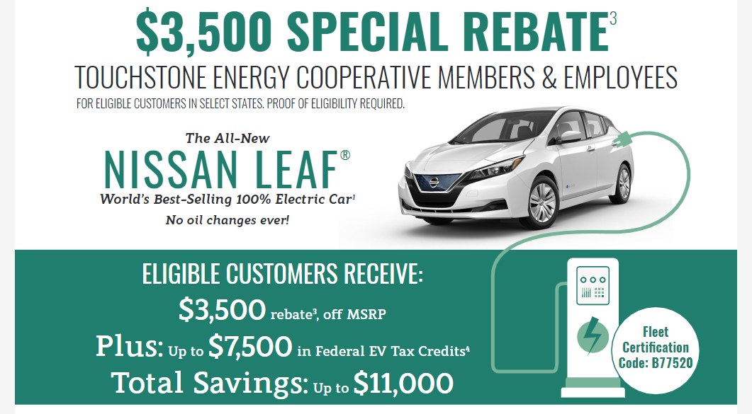 Graphic image of the rebate amount and an image of a Nissan Leaf vehicle plugged in to an illustration of a fuel tank