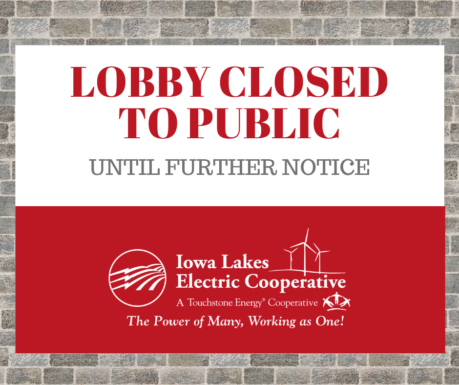 Lobby Closed To Public Until Further Notice