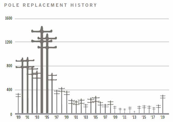 Pole replacement history from 1989 to 2019.