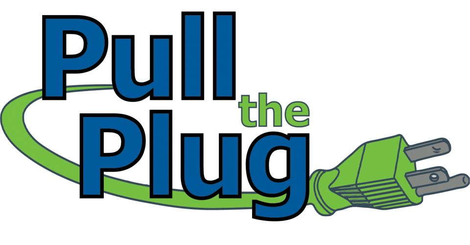Pull the plug text with electrical cord