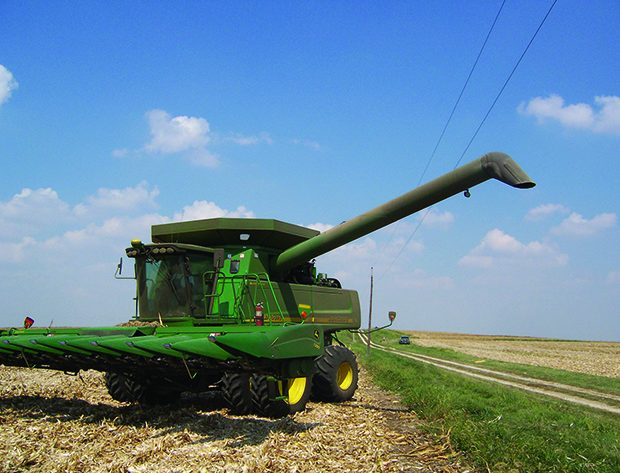 combine in a field