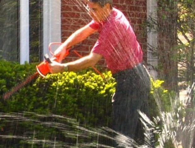 Person trimming hedge while sprinkler running