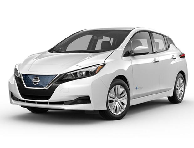 Manufacturer stock image of a white Nissan Leaf car