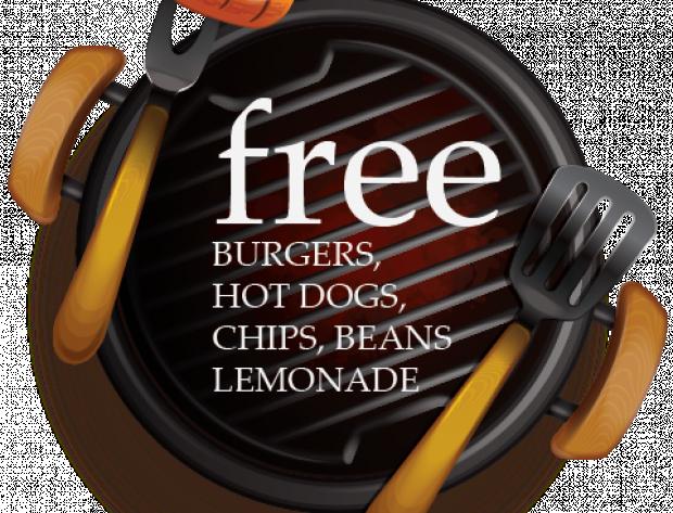 free burgers, hot dogs, chips, beans, lemonade