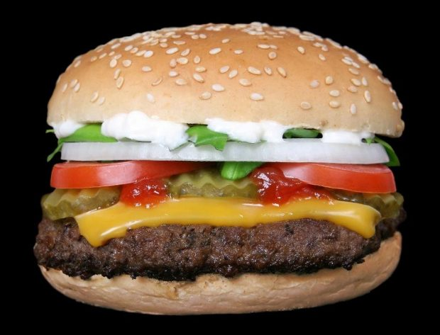 cheeseburger on sesame bun with ketchup, pickles, tomatoes, onion, lettuce and mayo