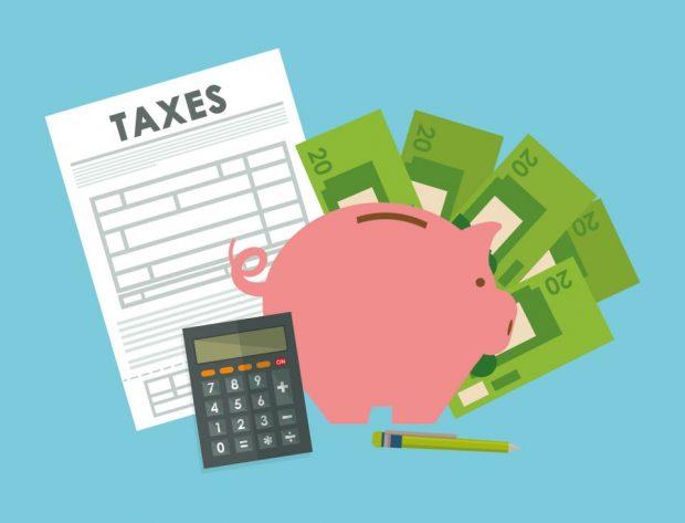 tax form, piggy bank, calculator, cash