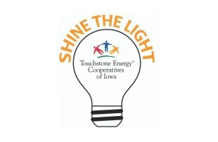 Touchstone Energy Cooperatives of Iowa Shine the Light text with light bulb