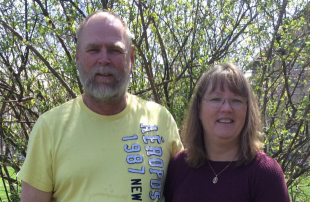 Lineman Stuart with his wife Lori