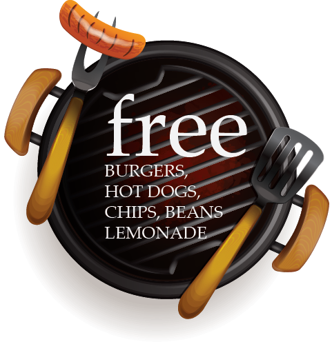 free burgers, hot dogs, chips, beans, lemonade