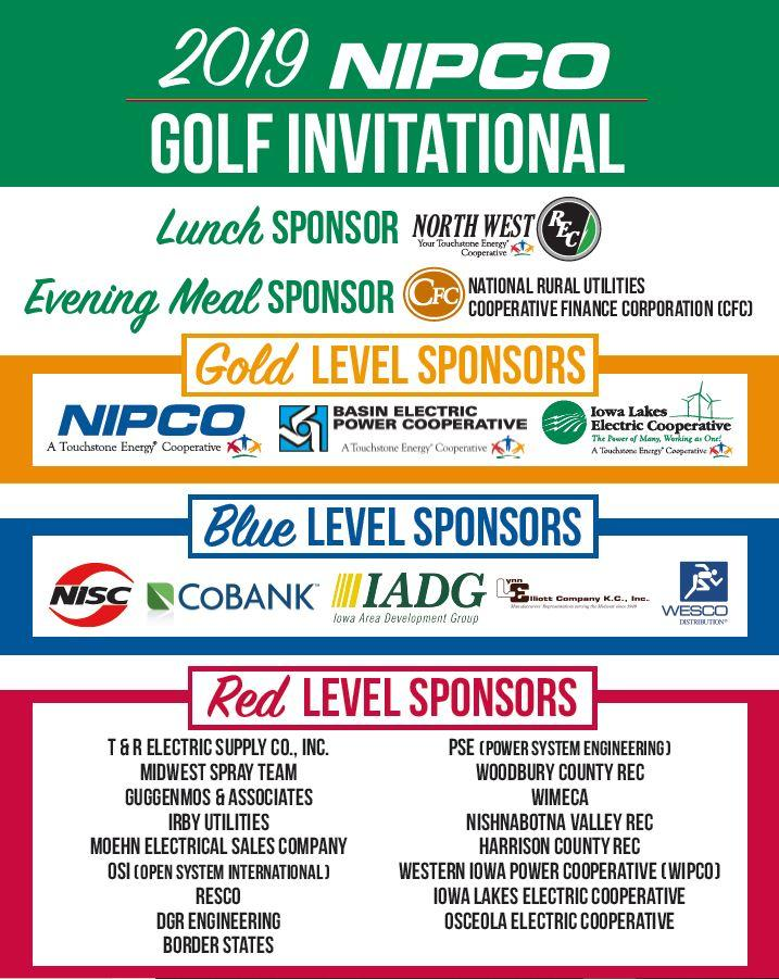 A graphic image that lists all of the sponsors, by name, of the NIPCO Golf outing.