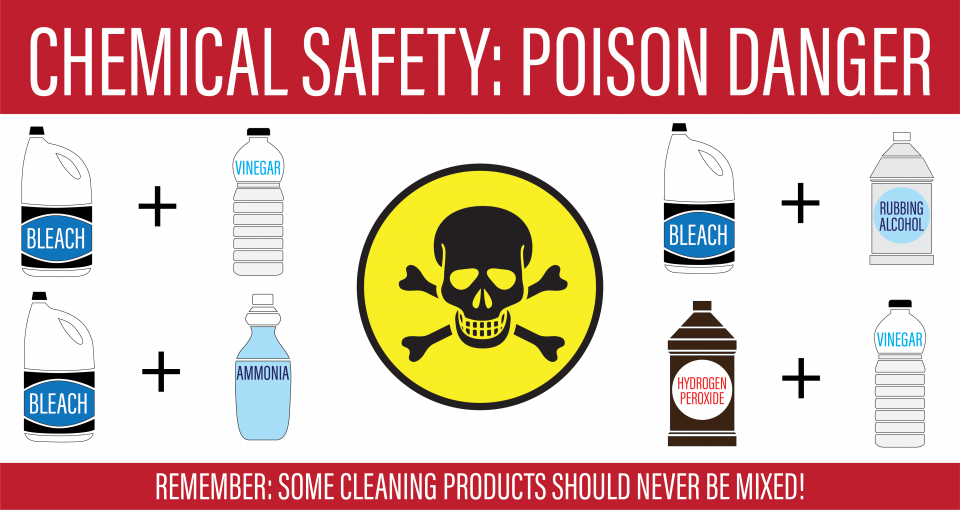 "Graphic  illustration of chemical compounds listed in the story with a skull and crossbones image and the title ""Chemical Safety: Poison Danger"""