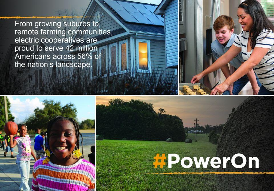 Photo collage of cooperative members with the national cooperative month logo #PowerOn