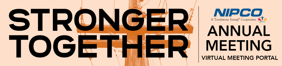 """graphic logo of the 2021 NIPCO Annual Meeting """"Stronger Together"""""""