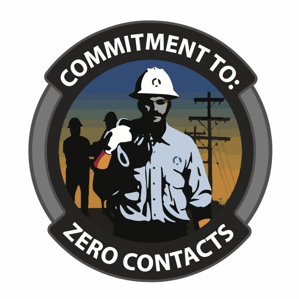 Image features the logo for the Commitment to Zero Contacts program. It is a graphic illustration of a line worker with his crew and power lines behind him.