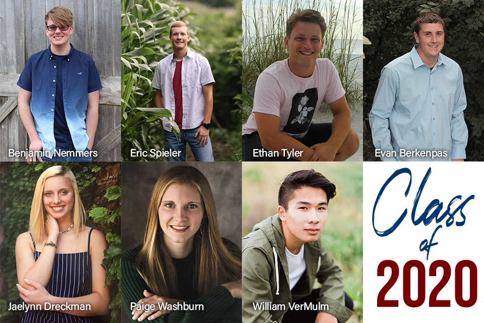 Photo collage of images of each high school senior that is named in the article.
