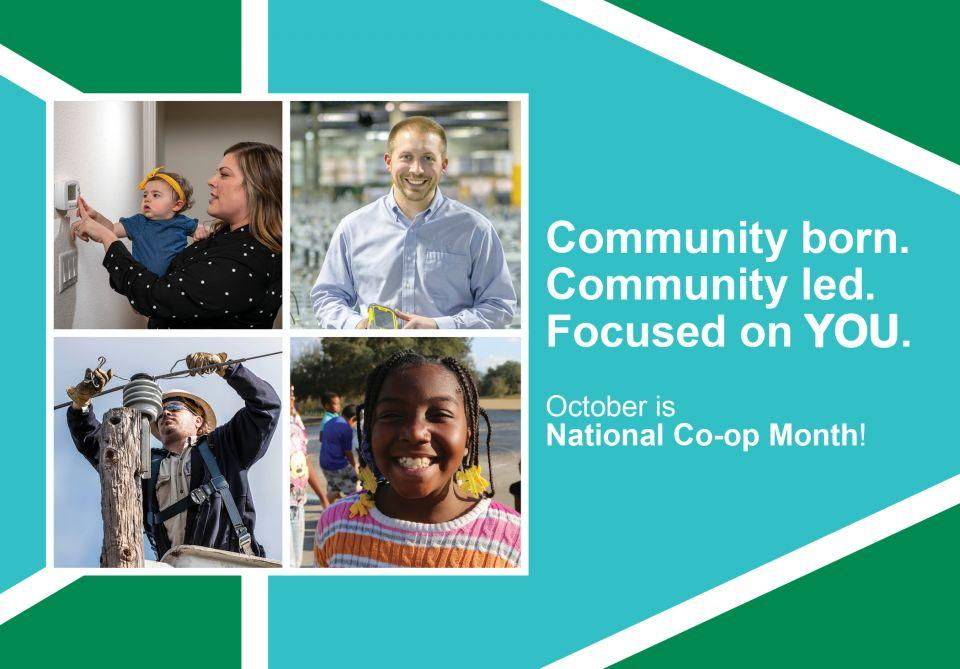 """Graphical illustration of Co-op Month ad with the words """"Community born. Community led. Focused on you. October is National Co-op Month."""""""