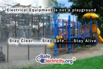 playground equipment vs electrical equipment with label: This is not a playground
