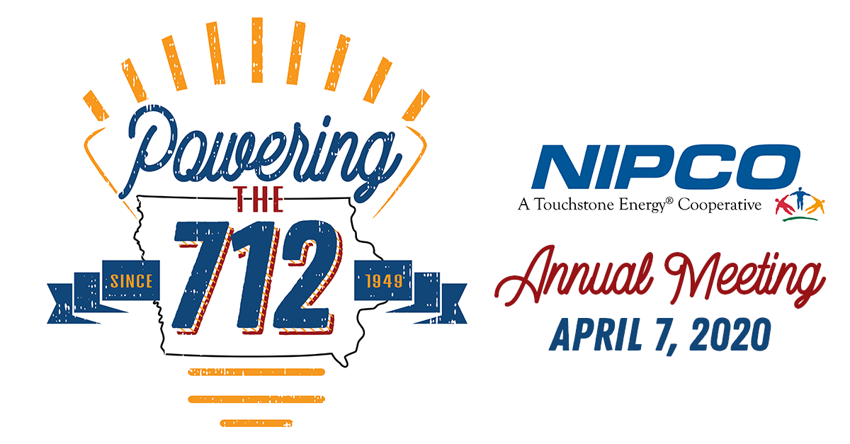"""Graphic illustration of NIPCO's Annual Meeting logo, """"Powering the 712"""""""