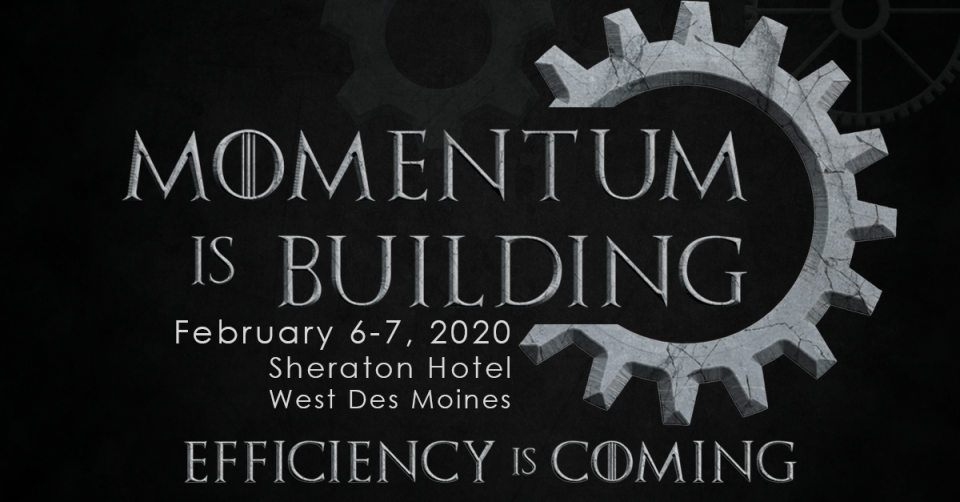 Graphic image of the Momentum is Building logo and event dates