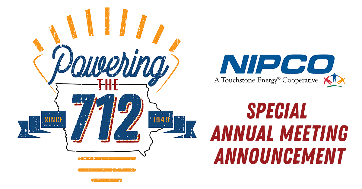 """Graphic illustration of NIPCO's Annual Meeting logo, """"Powering the 712"""" with the words, """"Special Annual Meeting Announcement"""""""