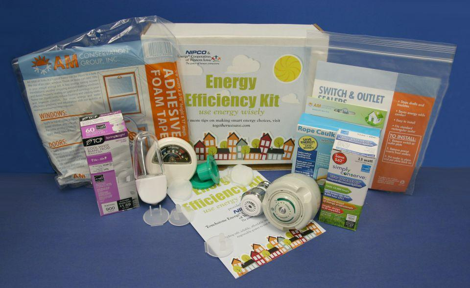 Image of an early Energy Efficiency Kit showing the contents that were distributed to member-owners.