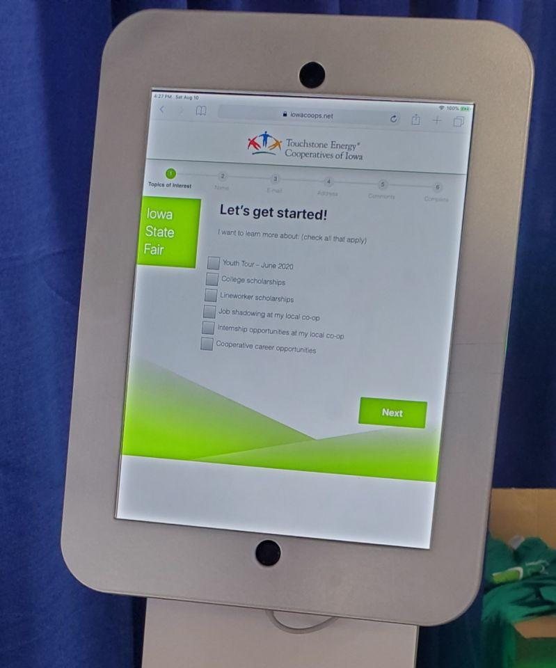 Photo of one of the iPads fairgoers used to request more information on cooperative programs.