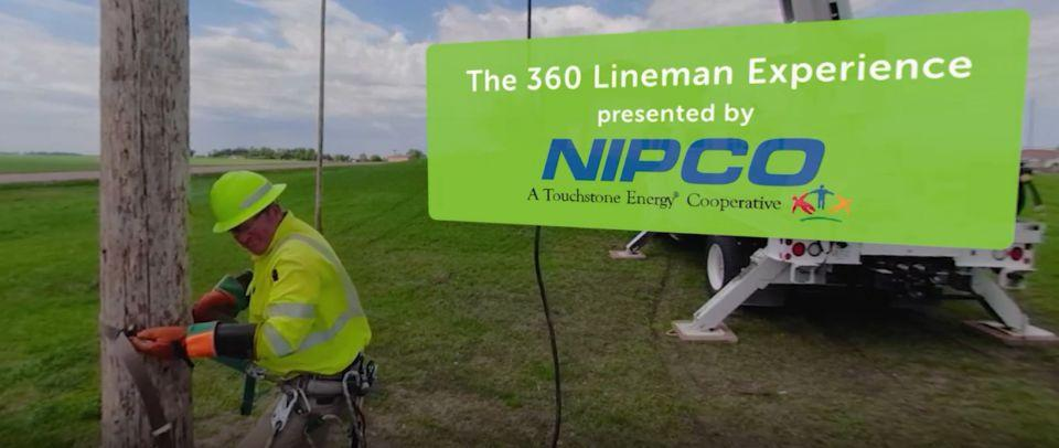 image is a screen capture of the title screen from Lineman 360