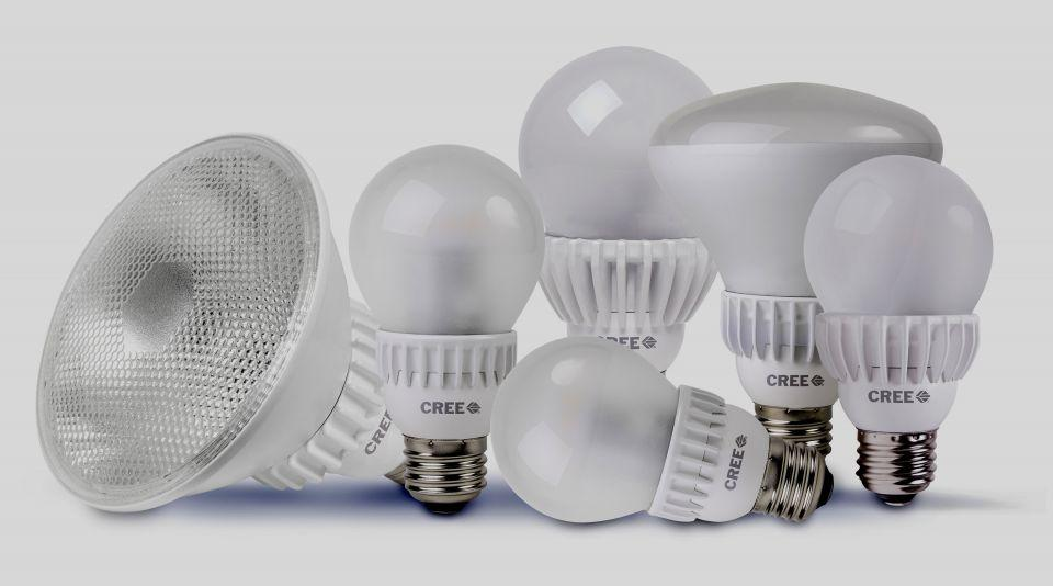 Image of several different LED (light-emitting-diode) bulb options available to consumers.
