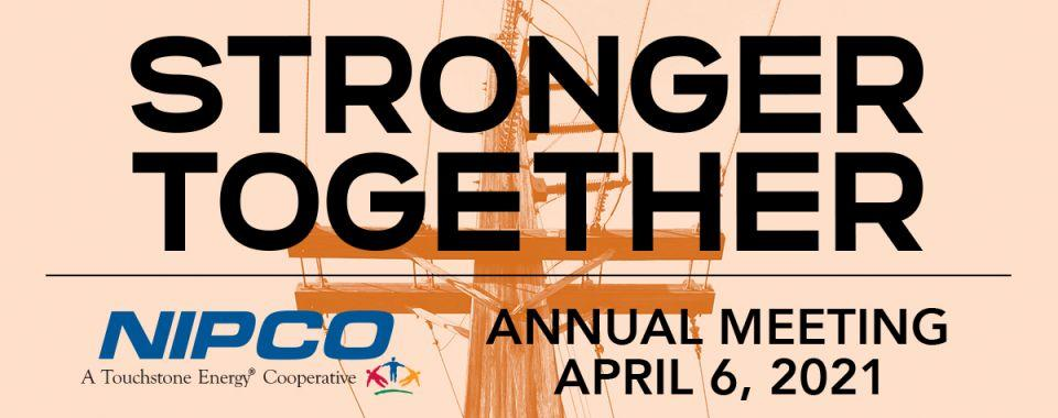 """Graphic illustration of NIPCO's 202 Annual Meeting logo, """"STRONGER TOGETHER"""""""
