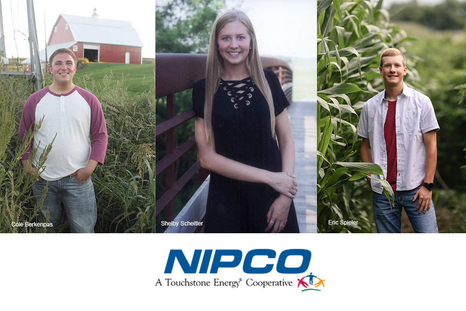 Photo collage featuring NIPCO scholarship winners. From left to right is Cole Berkenpas, Shelby Scheitler, and Eric Spieler