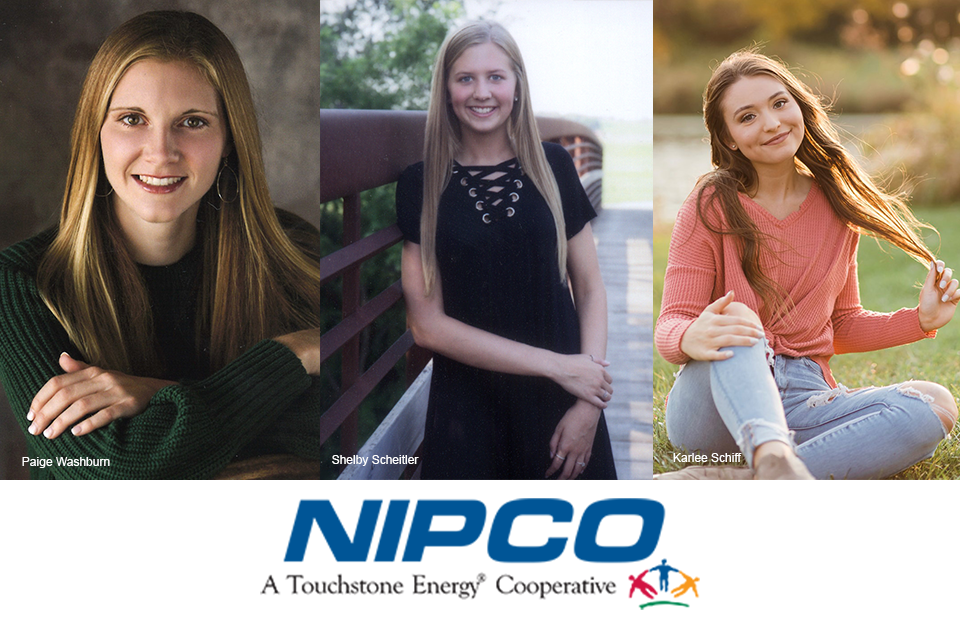 Photo collage featuring NIPCO scholarship winners. From left to right is Paige Washburn, Shelby Scheitler, and Karlee Schiff